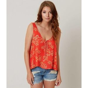Free People Red The Rose Tie Front Floral Tank Top